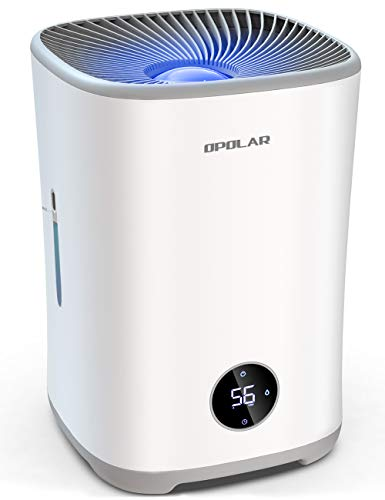 VEARMOAD Evaporative Humidifier for Bedroom, Mist-Free Top Fill Quiet Humidifiers with Filters, Humidistat, Timer, 0.79Gal Tank Lasts 10-17H, Auto Shut-Off, LED Touch Display for Large Room (White)