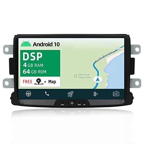 YUNTX PX6+DSP Android 10 Autoradio Compatible avec Dacia Sandero Renault Duster Logan - [4G+64G] - GPS 2 Din -Caméra arrière Gratuite - Soutien Dab Commande au Volant WiFi Bluetooth 5.0 Mirrorlink AHD