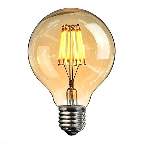 Vintage LED Edison Glühbirne, Elfeland E27 6W Antike LED Filament Lampe Dekorative Glühbirne (2200K, Dimmbar, Modell G80) Amber Glas Ersetzt 60W Ideal für Nostalgie und Retro Beleuchtung 1 Pack