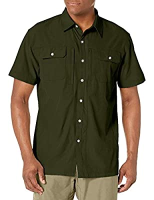 Little Donkey Andy Men's Lightweight Short Sleeve Shirt Quick Dry Stretch Shirt for Hiking Travel, UPF50 Olive Size XL