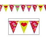 amscan–400278–Girlande Flaggen Herz–20cm x 4m