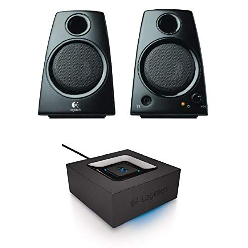 Logitech Z130 3.5mm Jack Compact Laptop Speakers + Logitech Bluetooth Audio Adapter Bundle