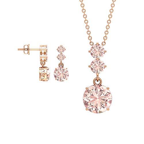 Rosec Jewels 18 quilates oro rosa redonda morganita creada en laboratorio