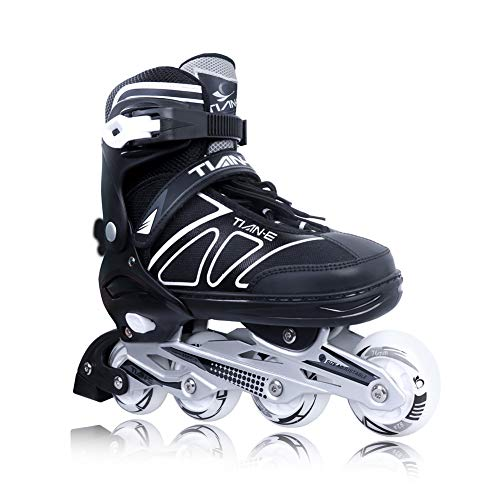 Adjustable inline skates for kids and adults with light up wheels beginner skates safe and durable inline roller skates for girls and boys, mens and womens black size 1. 5