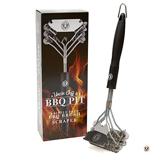 Grill Brush Bristle Free Safe for BBQ - Stainless Steel Grilling Brush Cleaner - Great on Black Iron BBQ Grill - Professional Grade Scraper for Cleaning Gas/Charcoal Grill - Gift Boxed and Ready