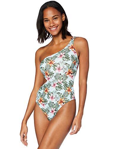 Amazon-Marke: Iris & Lilly  Damen One Shoulder asymmetrischer Badeanzug, Mehrfarbig (Tropisch), XL, Label: XL