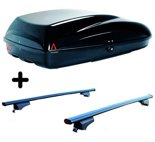 PROPOSTEONLINE Set Compatibile per Suzuki JIMNY (1998) Auto Box Baule e Barre Portatutto Tetto in Acciaio con Attacchi Portabagagli Portapacchi