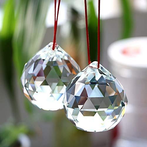 BTSKY Bolas de Cristal Colgantes Hialino 2 Pcs Vidrios Transparentes d