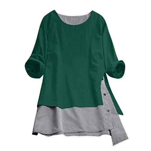 Axiba Vestido de manga comprida com bolsos estilo túnica, rodado, simples, verde, 4GG