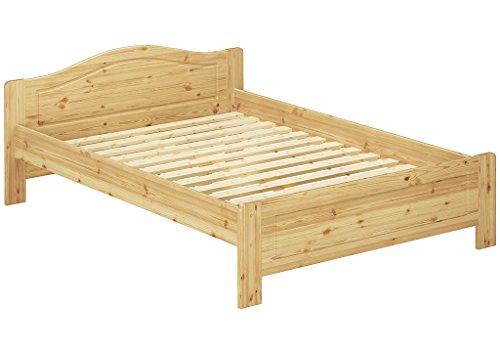 Erst-Holz® Kieferbett Natur Doppelbett 140x200 Futonbett Bett breit Massivholzbett Rollrost 60.37-14