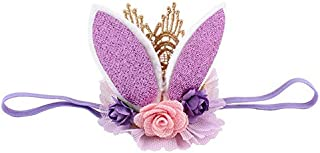 MOPOLIS Fashion Rabbit Ears Tiara Lace Hairband Flower Headband for Baby Girl Toddler DR | Color - Purple
