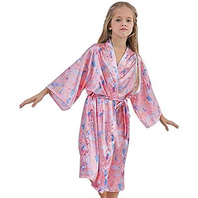 Beinou Unicorn Satin Robe Kids Kimono Bathrobe Girls Sleepwear Spa Night Robes