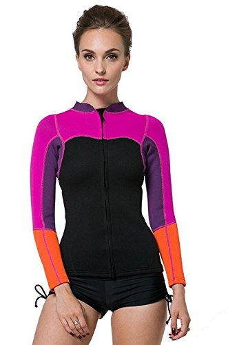 SBART Wetsuits Premium Neoprene Women's, Long Sleeve Jacket, Front Zipper Wetsuit Top, 2mm, Tag 2 X-Large = US Large
