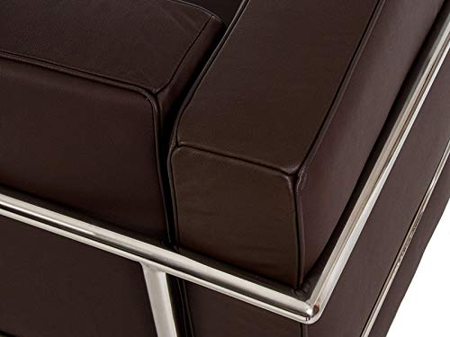 Sillón de acero inoxidable, piel italiana negra, marrón, coñac blanca
