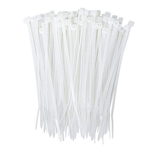 Koowin Bridas de nailon con autobloqueo, ecológicas, resistentes, bridas de alambre de plástico de alta calidad para el hogar, oficina, jardín, garaje, taller (10 cm, 8 kg, 200 unidades), color blanco