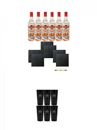 Rushkinoff Vodka & Caramello 6 x 1,0 Liter + 6 Schieferuntersetzer + Three Sixty black Vodka Glas 6 Stück (black)