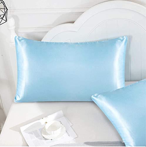 Elxf Juego de 2 fundas de almohada de seda para el cabello y la piel, 2 fundas de almohada de seda 100% 19 Momme Charmeuse - azul claro