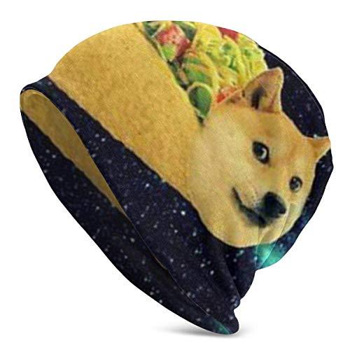 Lsjuee Doge in involtini di pollo al taco che volano attraverso la galassia Space Fllow Your Dream Divertente Mouse Pad Beanie Uomo Donna Unisex Morbido Cuffed Plain Skull Berretto in maglia Berrett
