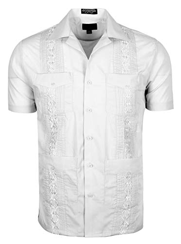 Volcan Men's Short & Long Sleeve Cuban Guayabera Shirts, White, XX-Large