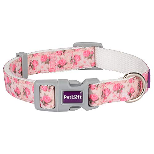 PETLOFT Hundehalsband, Größenverstellbare Hundehalsbänder aus Segeltuch mit Metall-D-Ring zur Befestigung an der Leine (M, Pflanze)