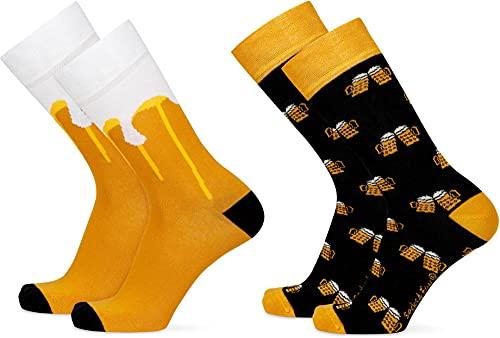 2 Paar Lustige Socken | gemusterte Socken mit verschiedenen Motiven & Farben | Mit Piqué-Komfortb& | Aus Baumwolle, Polyamid & Elasthan Farbe Bier Größe 42-47