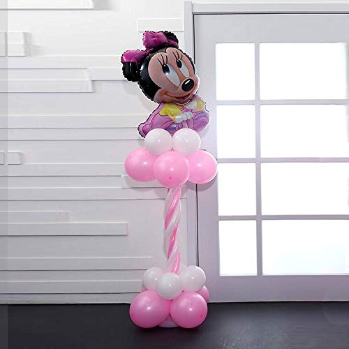 HNTHBZ Ballon 32pcs / Lot Mickey Minnie Mouse-Folien-Ballone Cartoon Globos 2,3 G Latexballons Babyparty Alles Gute Zum Geburtstag Hochzeit Party Supplies Bunten Luftballons (Color : Pink)