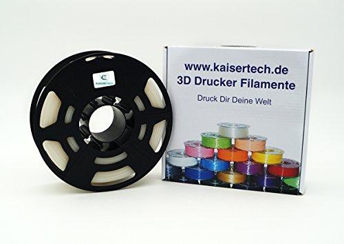 Kaisertech Filament für 3D Drucker 1kg PLA/ABS 1.75mm/3mm - Premium Qualität & verschiedene Farben für MakerBot RepRap MakerGear Ultimaker uvm. (PLA 1.75mm, Naturell)