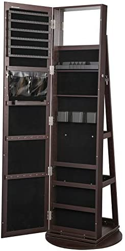 SONGMICS 360 Swivel Jewelry Cabinet Lockable Jewelry Organizer with Full Length Mirror Rear product image