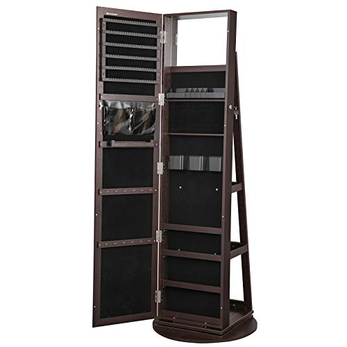 SONGMICS 360° Swivel Jewelry Cabinet Lockable Jewelry Organizer with Full-Length Mirror Rear Storage Shelves Built-in Small Mirror Jewelry Armoire Gift Idea Brown UJJC006R01
