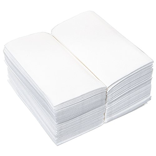 "California Home Goods 200 Pack Linen-Feel Disposable Guest Hand Towels, 12"" x 17"" Folded, Soft Cloth-Like Absorbent Paper Napkins for Dinners, Parties, Weddings, Bathrooms, White, Set of 200"