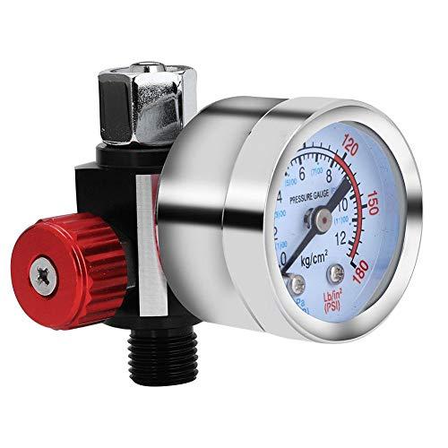 Regulador de presión de aire G1/4 con manómetro, reemplazo del compresor de aire Regulador de presión Accesorios de la pistola de pulverización de aire Instrumento ajustable Herramienta neumática
