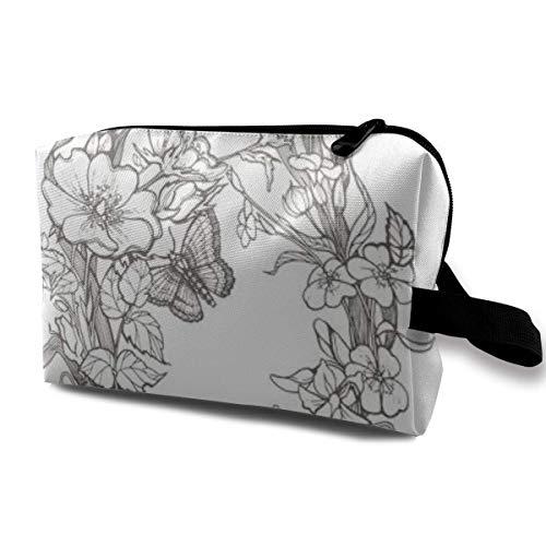 Trousse de Maquillage Pochette cosmétique Chien Sauvage Rose Fleurs Couleur Sac Multifonctionnel Kit de Voyage Sac de Rangement