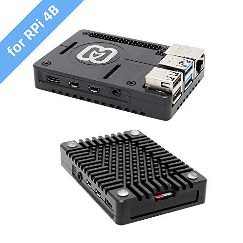 Geekworm Raspberry Pi 4 Gehäuse Fall, Raspberry Pi 4 Modell B CNC Ultra-Dünne Aluminium Legierung Metall Passive Kühlung Fall/Kühlkörper Fall für Raspberry pi 4B Nur