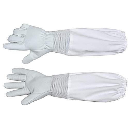LIOOBO 1 Paar Imker Bienen Handschuhe mit Langem Ärmel Ziegenleder Schutzhandschuhe für Bienenzucht Imkerei - Größe XL (Weiß)