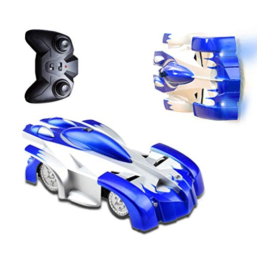 TOPSUN Coche de Control Remoto, trepador de Pared Coches RC rápidos con Luces LED Juguetes de Auto antigravedad Stunt Recargables adecuados para Adultos, niños (Azul)