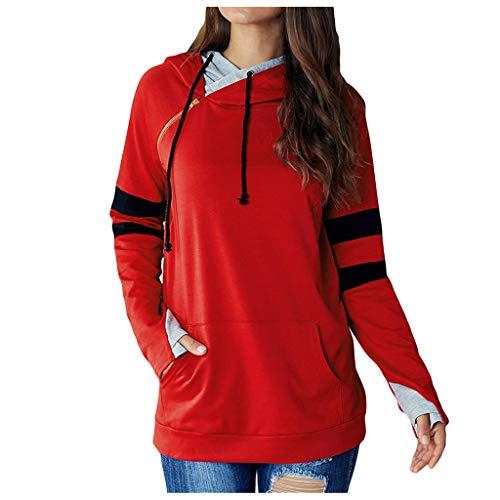 Sudadera Raglán Mujer con Capucha Hoodie de Empalme Tallas Grandes Ropa Deportiva Trail Running Sweatshirt Adolescentes Chica de Manga Larga Pullover Yvelands(Rojo,M)