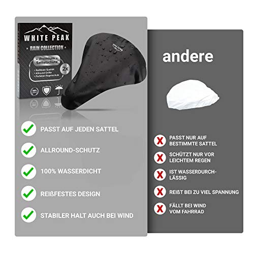 WHITE PEAK® 2er Set Wasserdichter Sattelbezug - Bike Seat Cover - Universalgröße - Der perfekte Sattelschutz für Ihr Fahrrad - 3