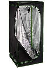 Relaxdays Growbox, H x B x D: 180 x 80 x 80 cm, planten teelt, reflectiefolie binnen, donkere kweektent, zwart/groen