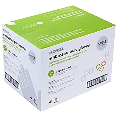 Daxwell Poly Gloves, Embossed, Large, Clear, F10003430 (Case of 5,000, 10 Boxes of 500)