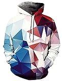 Idgreatim Uomo Donna Felpa con Cappuccio Stampata in 3D Colore Diamante Moda Abbigliamento Sportivo Felpe Personalizzata Pullover Cappello