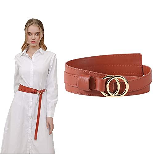 WELROG PU-Leder Damen Gürtel Elastischer Taillengürtel,Hüftgürtel mit Ringschnalle für Jeans Hosen Kleider Unifarben (Brown)