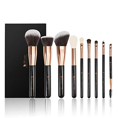 9 Pcs Pinceaux De Maquillage - Fond De Teint Liquide À Haute Brillance Maquillage Des Yeux Brosse, (Avec Sac) Beauté Professionnelle Outil De Maquillage, Débutant