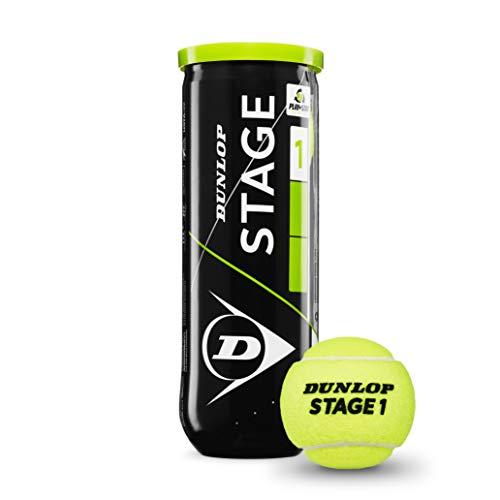 Dunlop Tennisbälle Mini Tennis Stage 1 3er, Gelb/Grün, One size