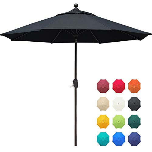 EliteShade Sunbrella 9Ft Market Umbrella Patio Outdoor Table Umbrella with Ventilation and 5 Years Non-Fading Top,Black
