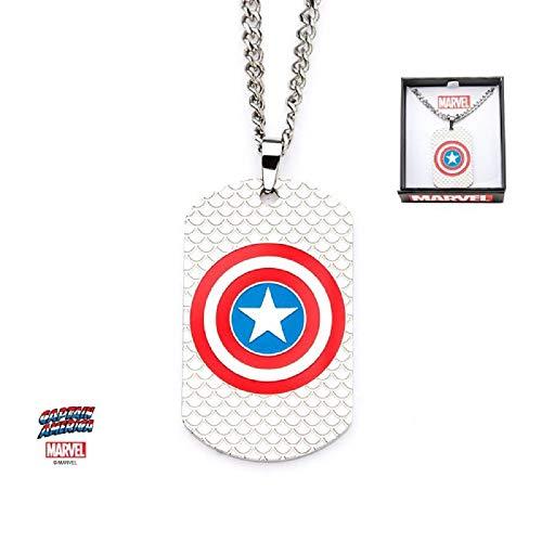 Marvel キャプテンアメリカロゴ - ステンレススチール 公式ライセンス商品 プレミアム品質 ドッグタグペンダントネックレス