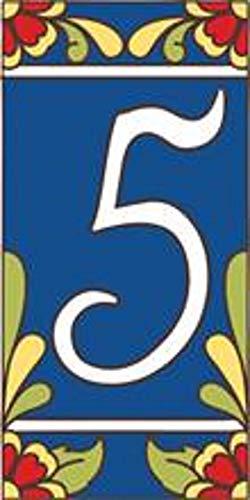"3"" X 6"" Ceramic Tile Address House Number Talavera Cobalt Blue #5 FIVE"