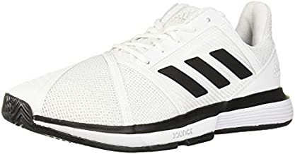 adidas Men's CourtJam Bounce Wide Tennis Shoe, White/Black/Matte Silver, 7 W US