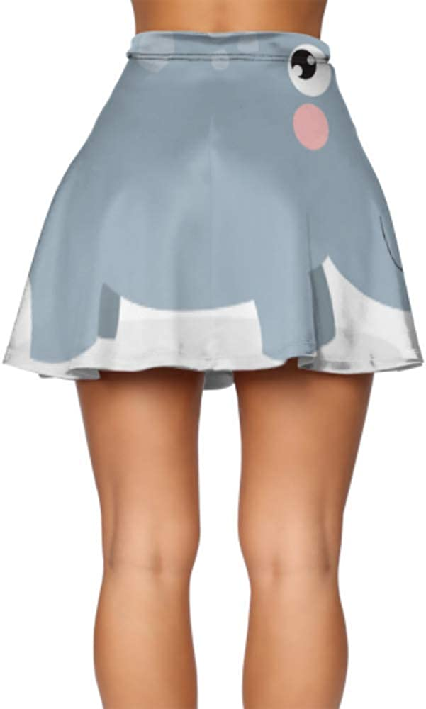 Flared High Waisted Skirt Big Tough Rhino Cartoon Fit Flare Skirt Women's Basic Casual Girls Mini Skater Skirt S-XL