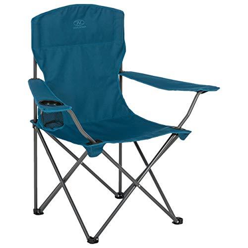 Highlander Campingstuhl, zusammenklappbar, leicht, strapazierfähig, ideal für Camping, Festivals, Garten, Wohnwagen, Angeln, Strand, Grillabende, marineblau