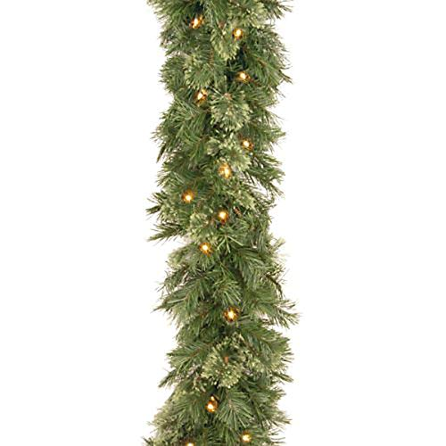 Yamart 9 FT Artificial Cedar LED Lights Glow Christmas Garland, Battery Operated Xmas Garland Greenery Outdoor, Front Door Mantle Garland Christmas Holiday Decoration Indoor